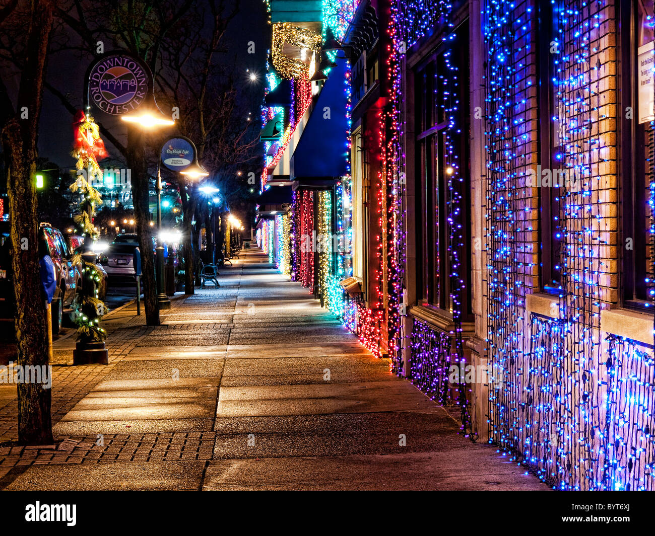 Christmas Lights Line The Main Street In Rochester Michigan   Stock Image