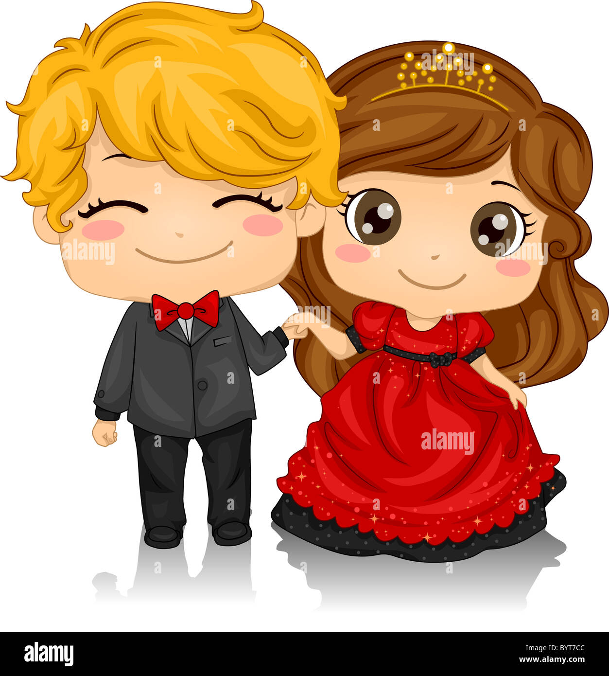 Illustration of a Couple Attending a Valentine Ball Stock Photo