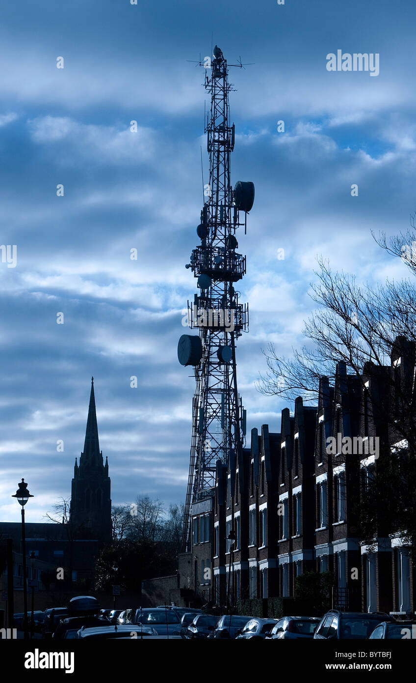 Microwave tower at Highgate London - Stock Image