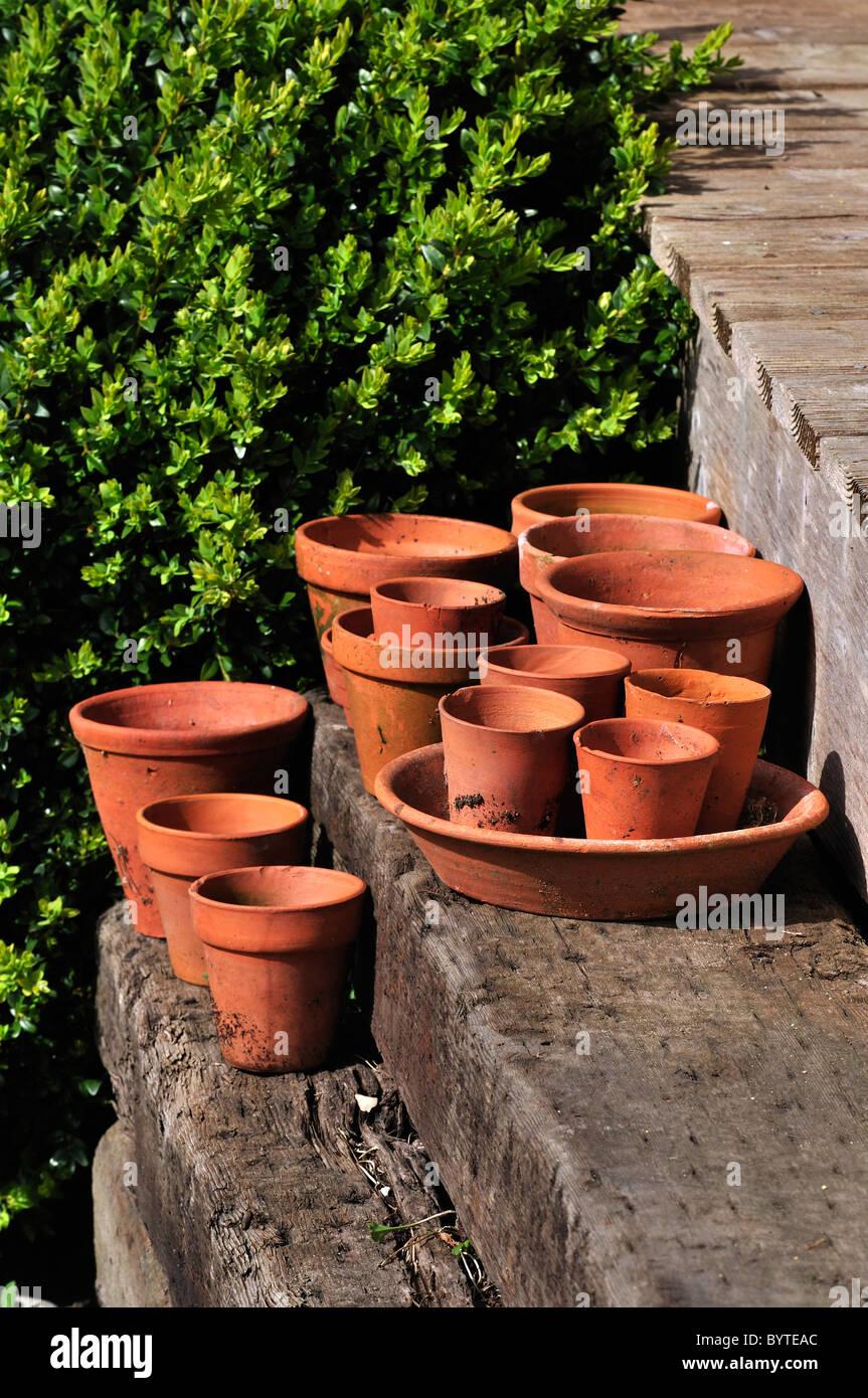Terracotta clay flower pots of various sizes on wooden steps. Dorset, UK April 2010 - Stock Image