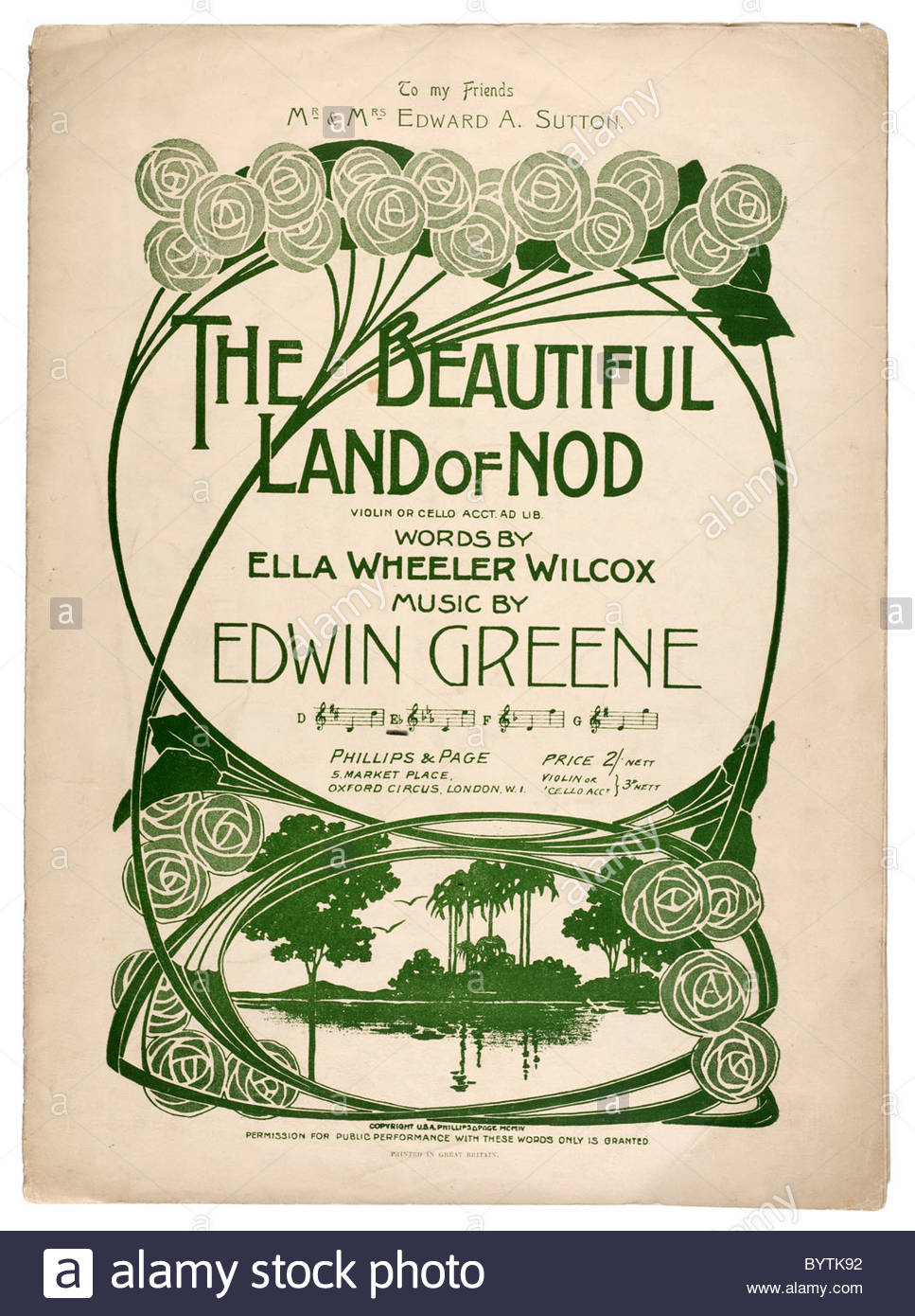 Old sheet music front cover from 1904 titled 'The Beautiful Land of Nod'  violin or cello acct. Ad Lib. - Stock Image