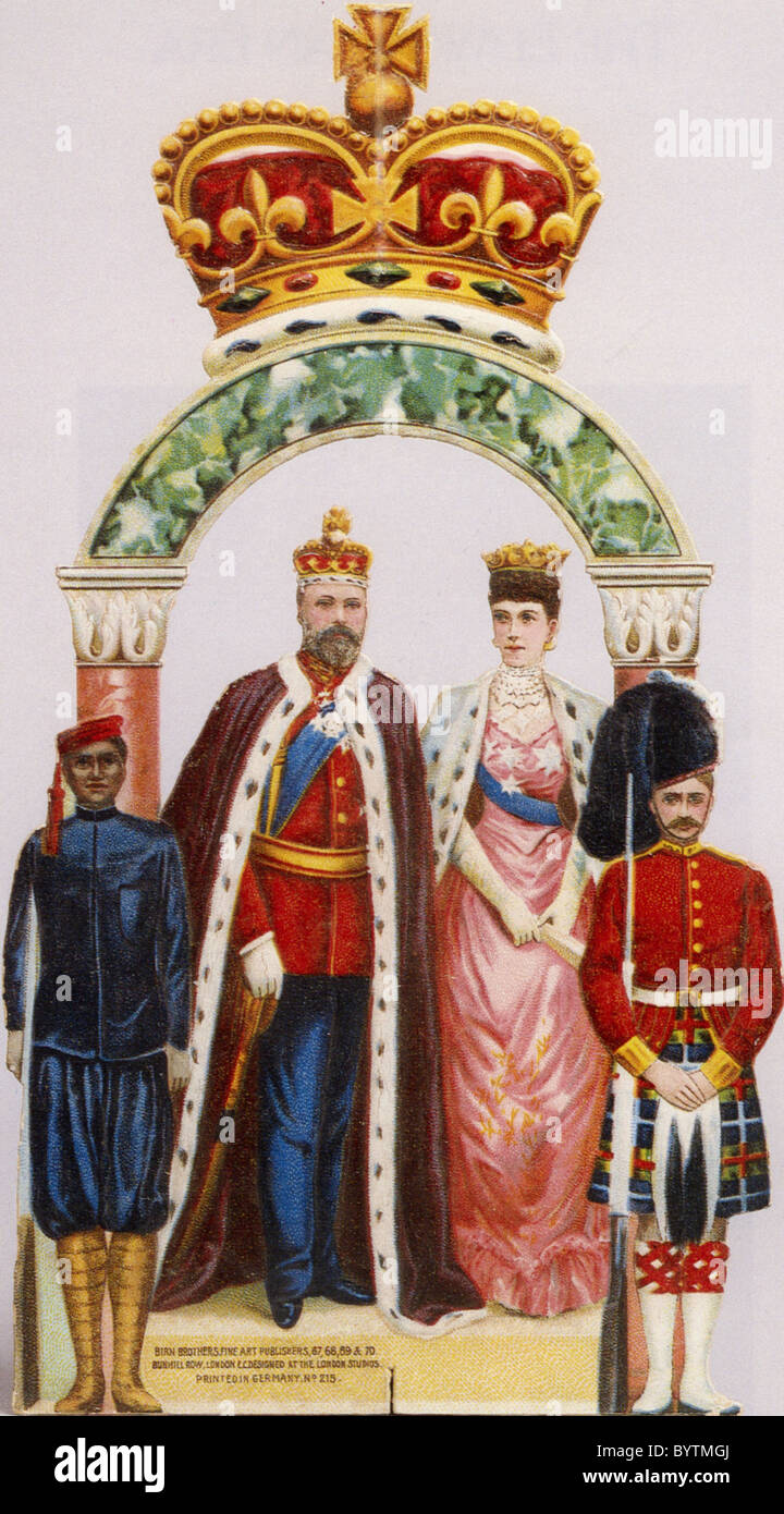 1902 CORONATION SOUVENIR with King Edward VII and Queen Alexandra - Stock Image