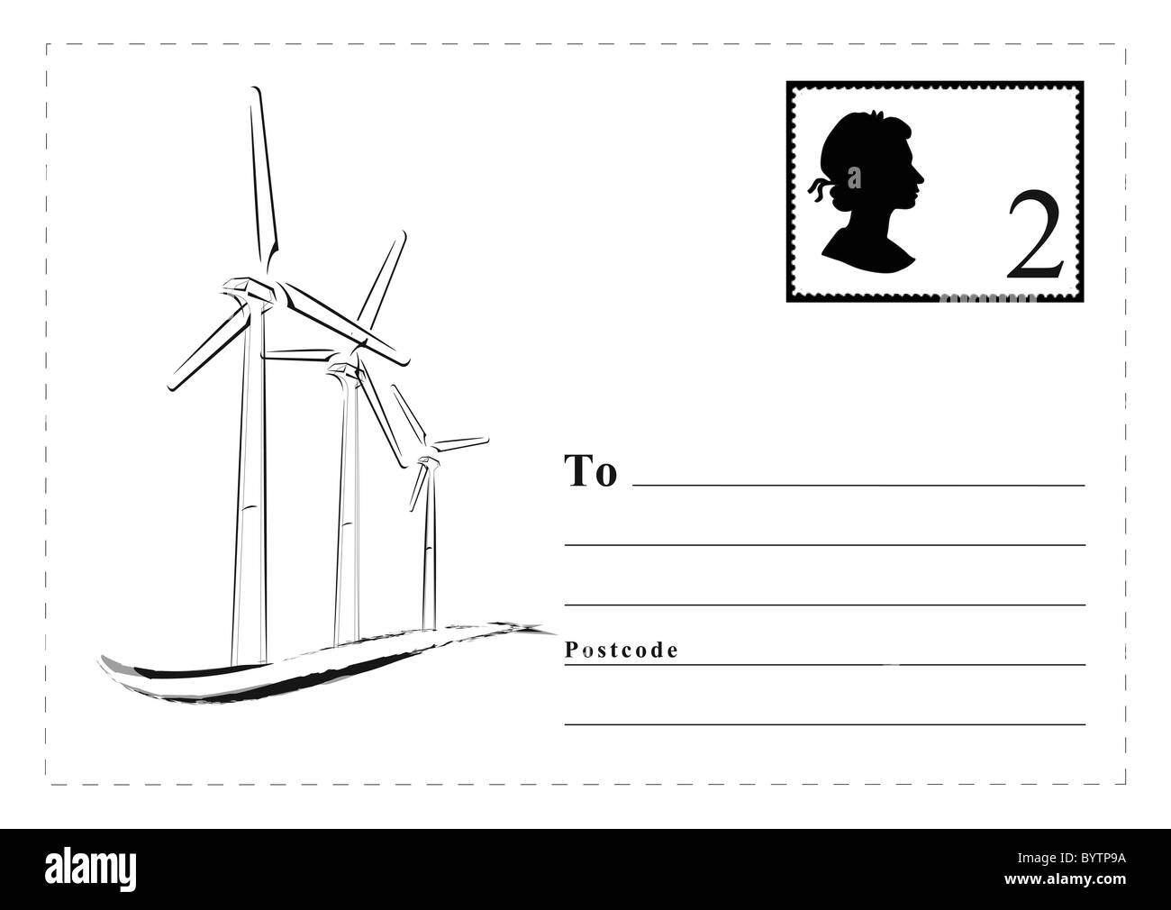 Black and white postcard template, 2st class stamp silhouette of Queen, outlined noted spaces, illustration of energy - Stock Image