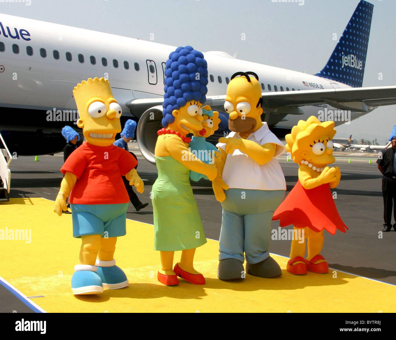 Bart Marge Maggie Homer And Lisa Simpson Jet Blue Unveils Aircraft Stock Photo Alamy