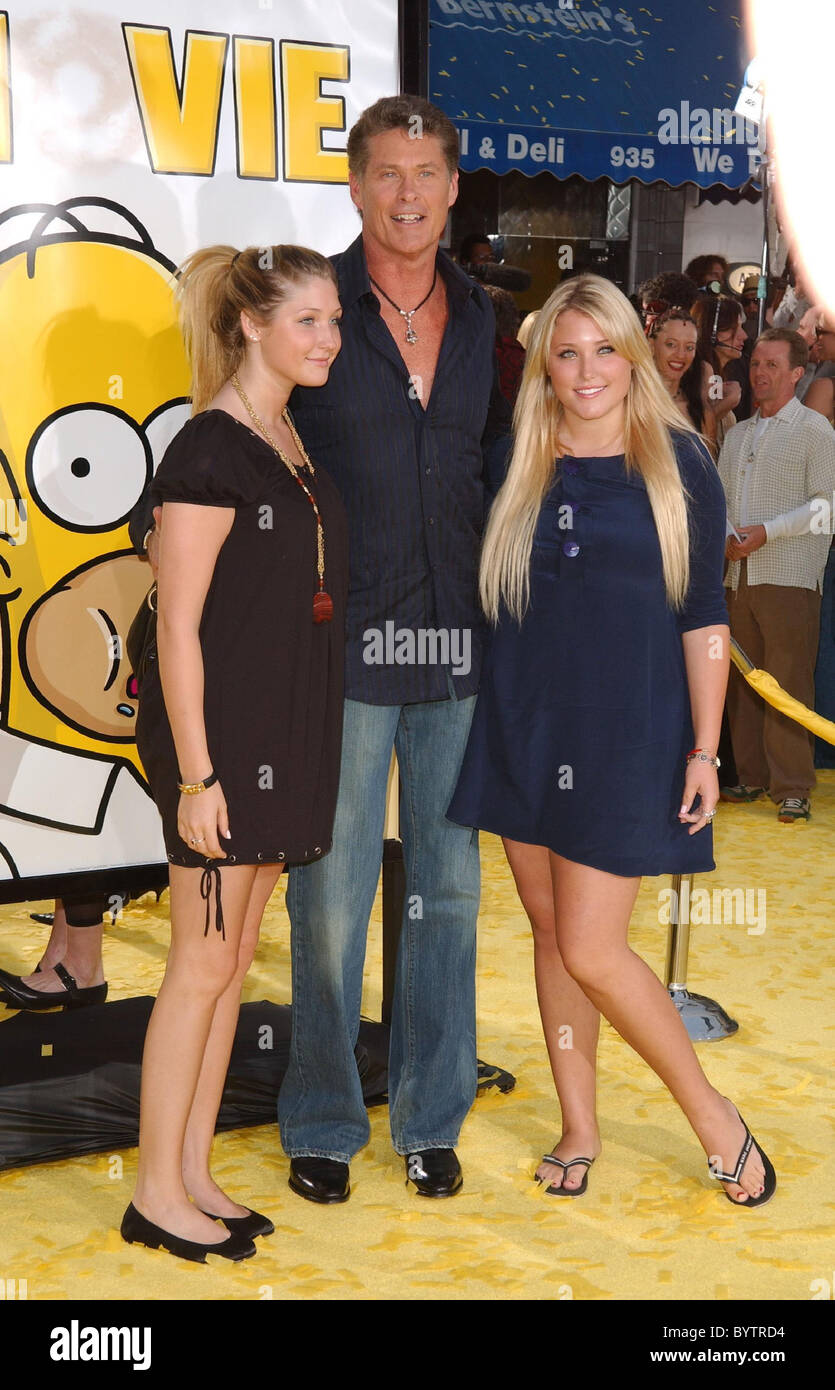 David Hasselhoff And Family The Simpsons Movie Premiere At The Mann Stock Photo Alamy