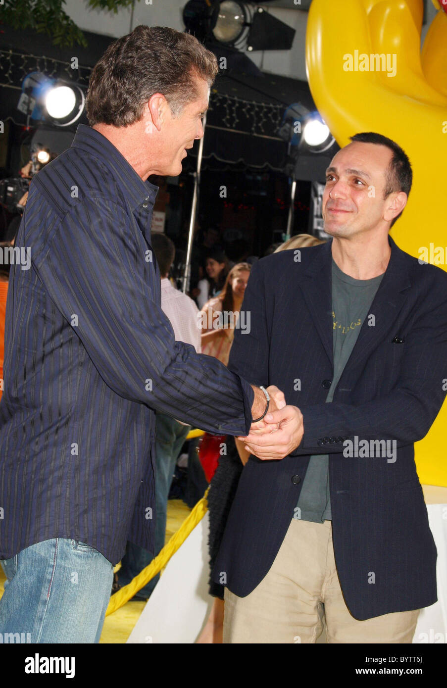 David Hasselhoff And Hank Azaria The Simpsons Movie Premiere At The Stock Photo Alamy