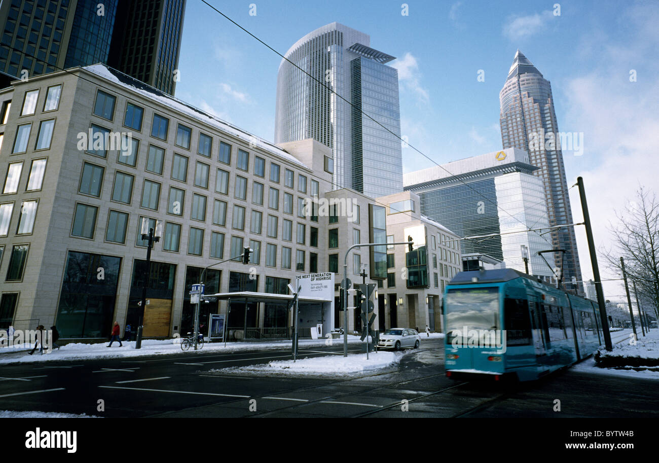 Castor and Pollux and Messeturm (Trade Fair Tower) in the German city of Frankfurt. Stock Photo