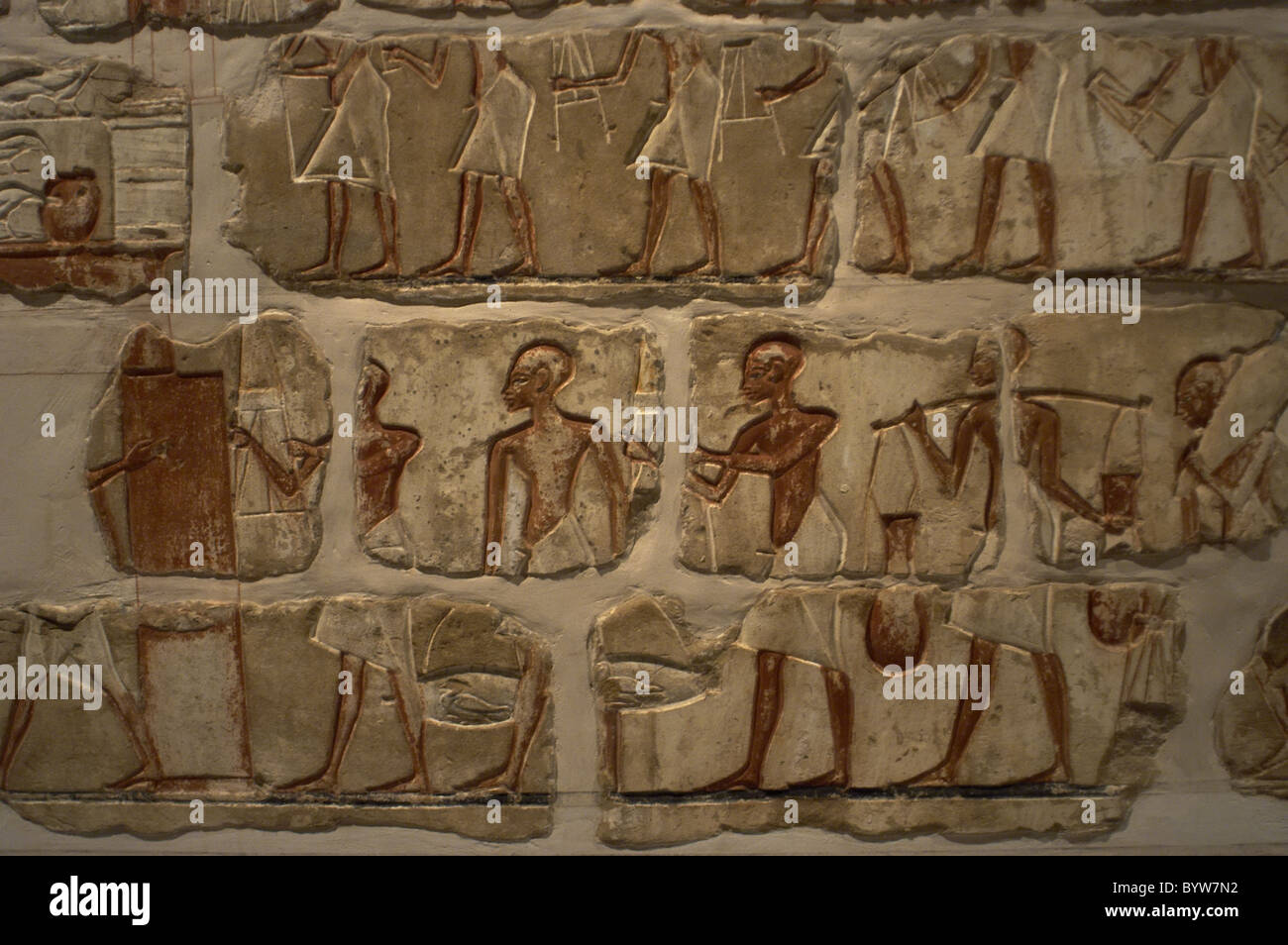 Egyptian art. Talatat walls from the temple of Amenhotep IV. Storage of goods in the temple. Egypt. - Stock Image