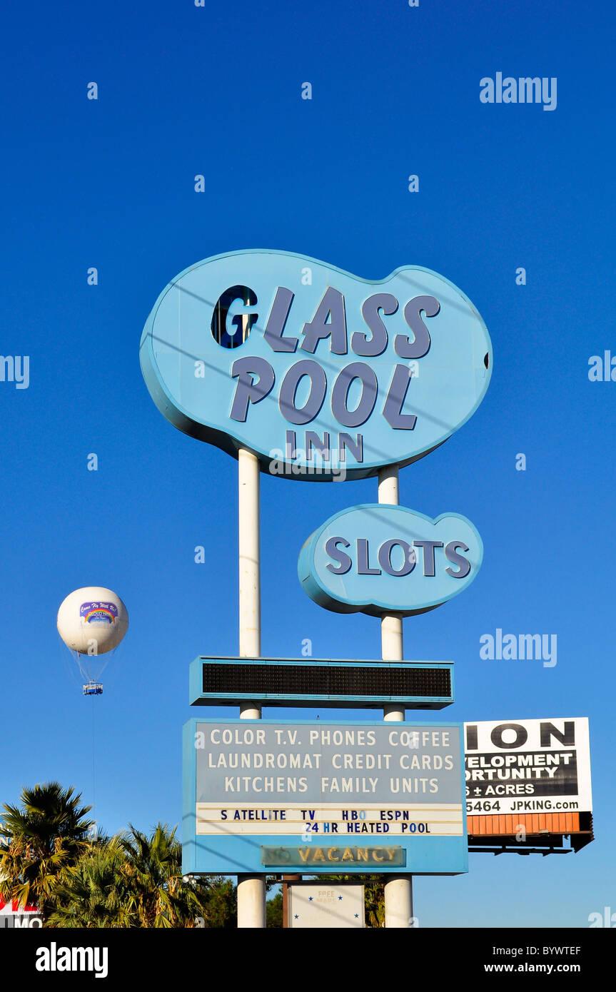 Glass Poll Inn sign post on Las Vegas Boulevard - Stock Image