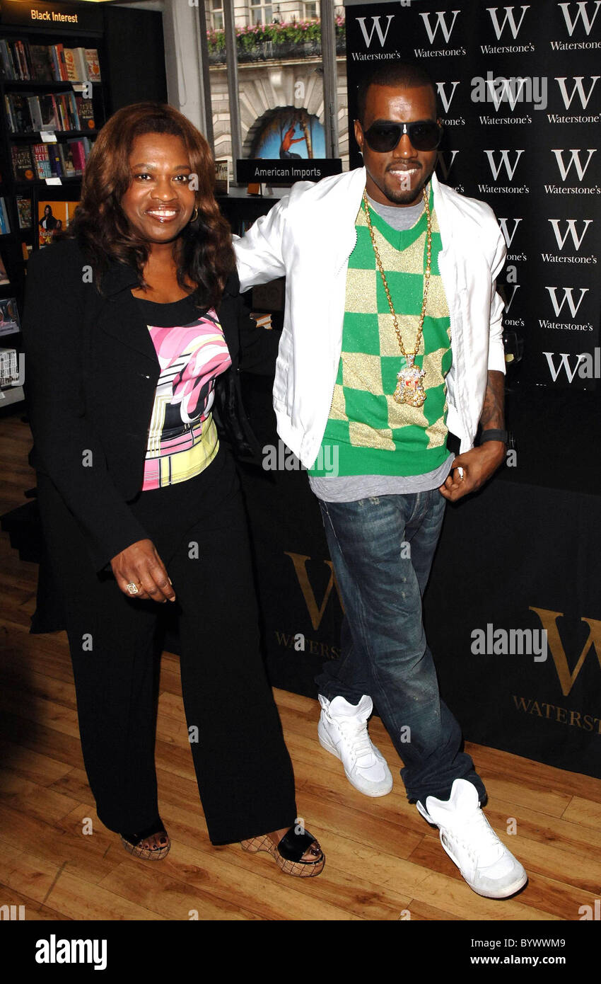 Donda West and Kanye West at the book signing for Kanye