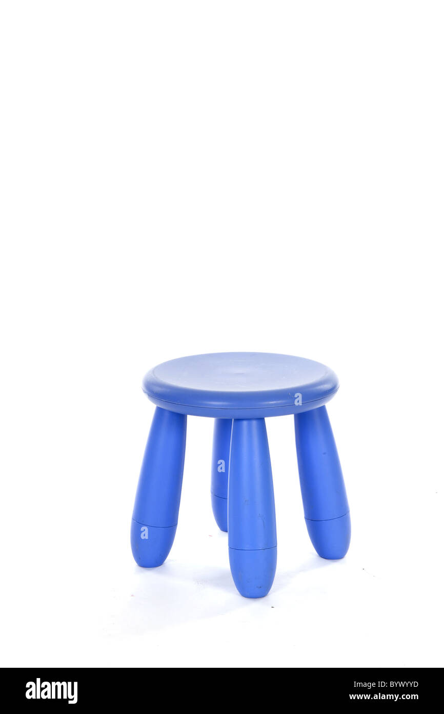 Little purple stool with four legs isolated over white - Stock Image