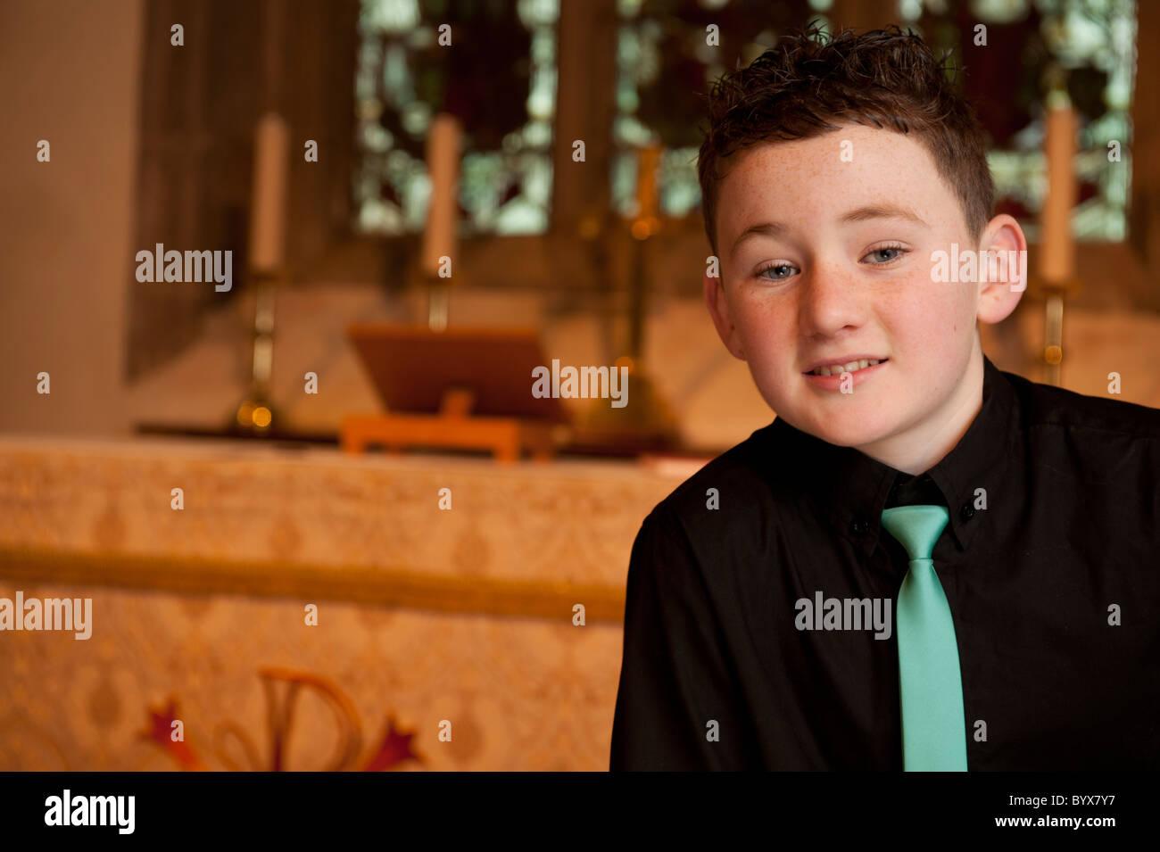 Young welsh boy singer Rhys Meilyr Jones, - Stock Image