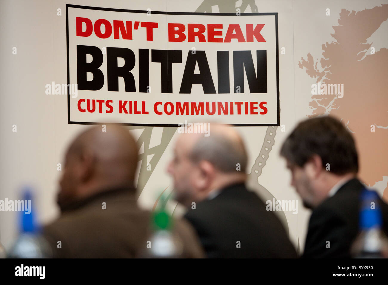 Cuts kill communities sign Stock Photo