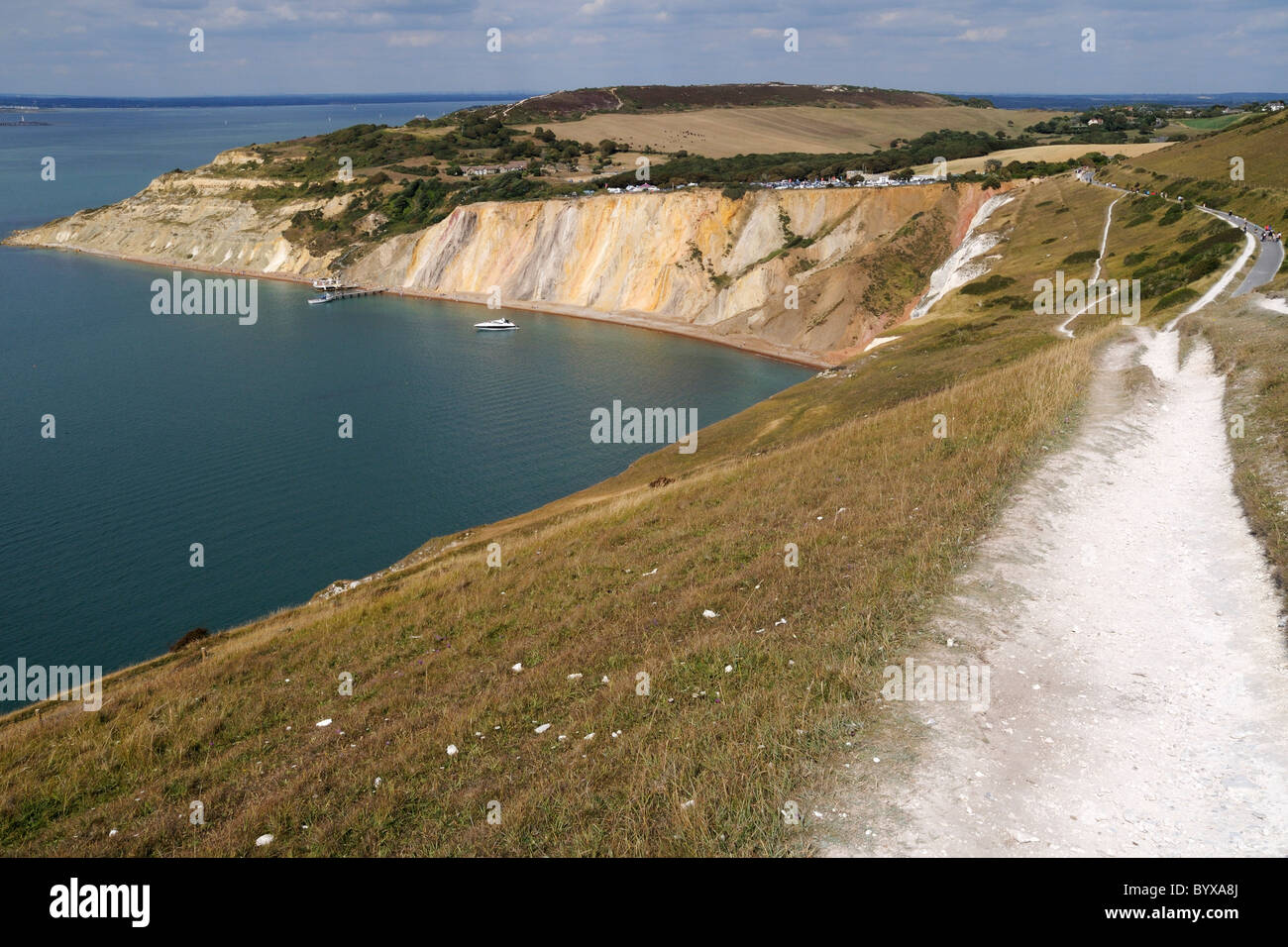 Looking along the coastal path that leads from the Needles Battery to Alum Bay on the Isle of Wight - Stock Image
