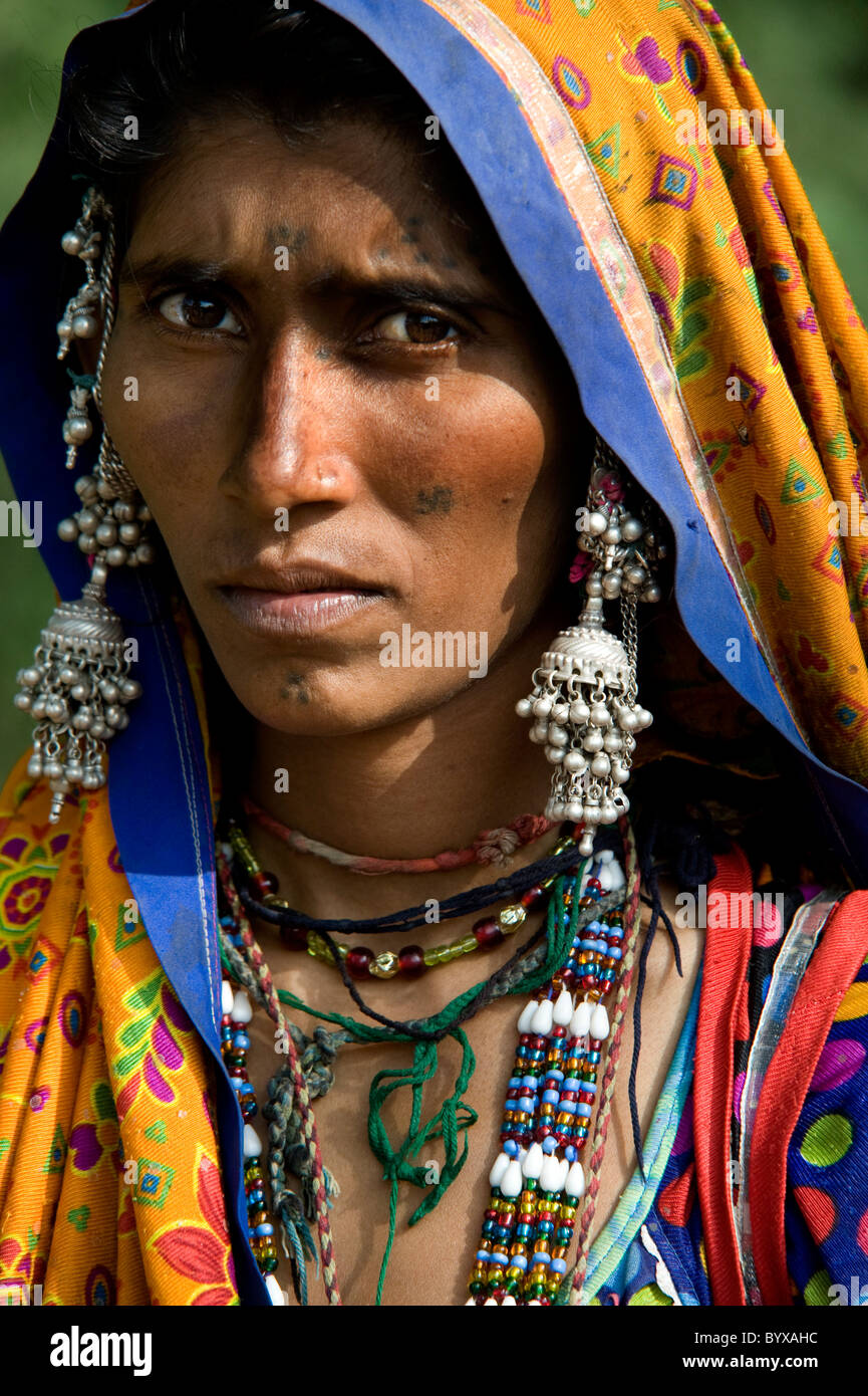 MIR nomadic tribeswoman Dasada India - Stock Image