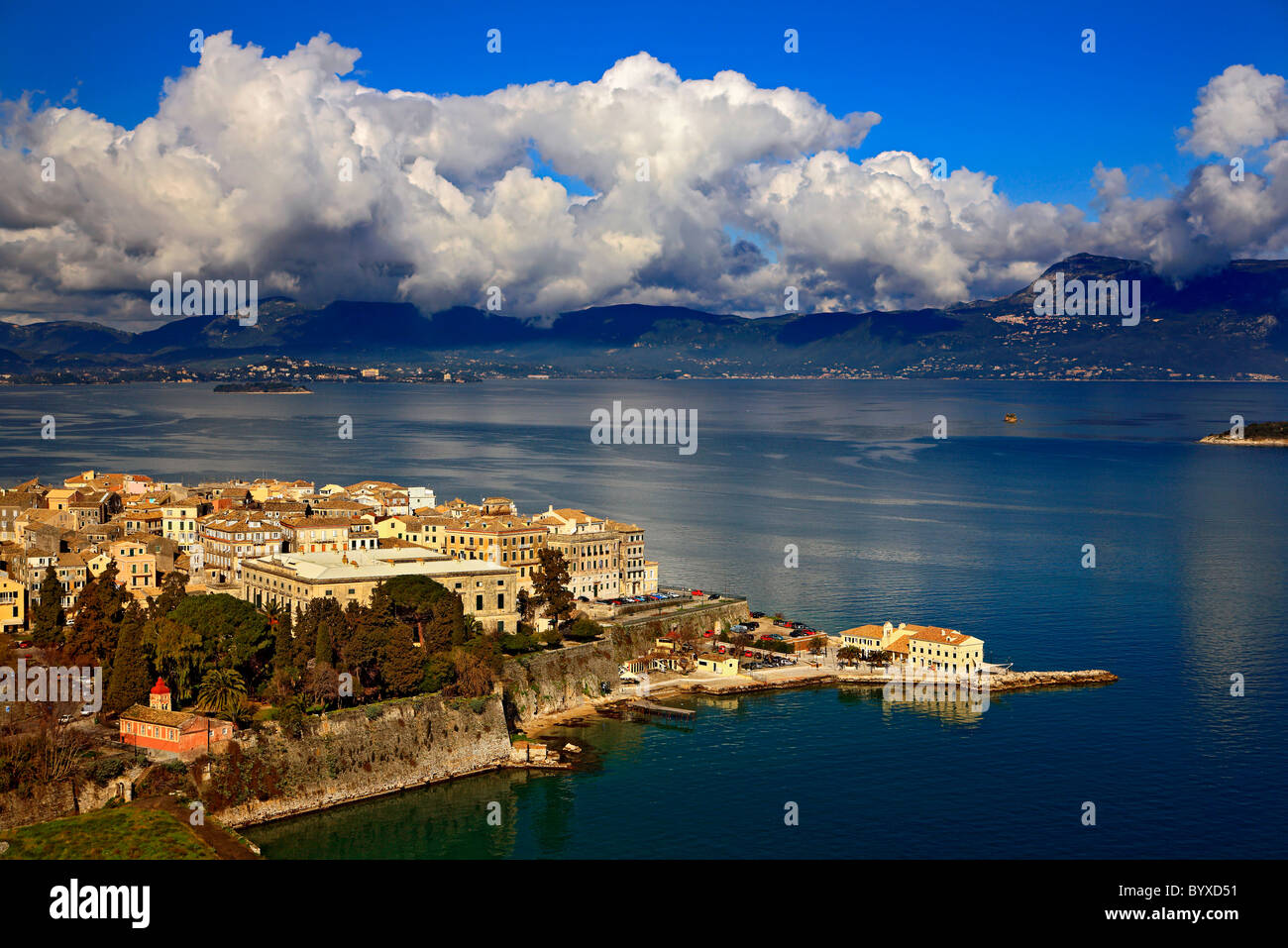 The oldest neighborhood (called 'Cambiello') of the old town of Corfu (or 'Kerkyra'), Ionian Sea, - Stock Image