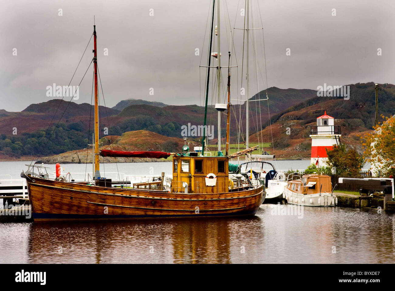 The Crinan Canal, Argylle, known as Britain's most beautiful shortcut. Stock Photo