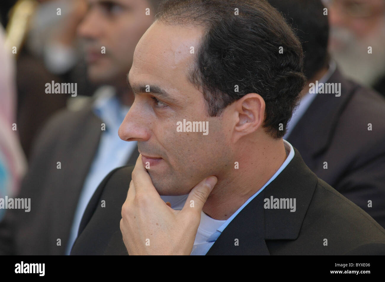 Gamal Mubarak attends a re-election rally in Minya for Egyptian President Hosni Mubarak durinig the 2005 presidential - Stock Image