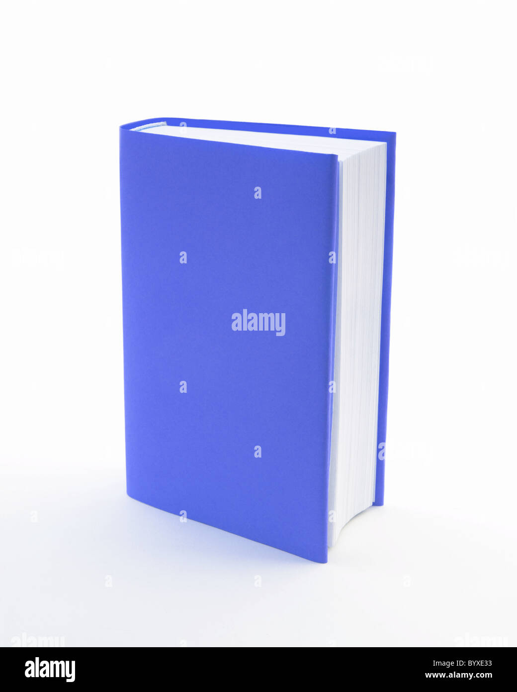 Blue book with a blank cover on a white background - Stock Image