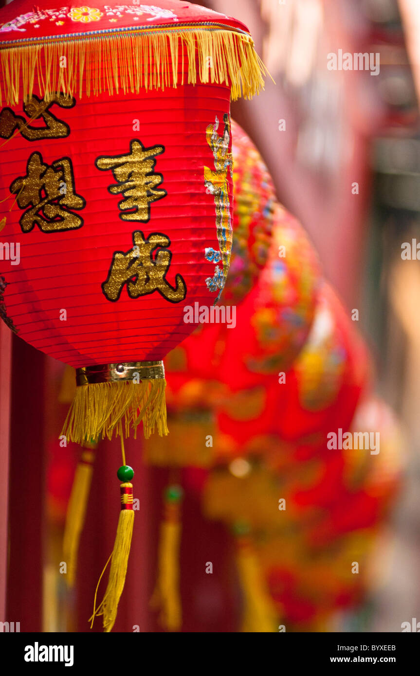 Chinese lanterns in Chinatown in London during the New Year Celebrations (Year of the Rabbit), 2011. - Stock Image