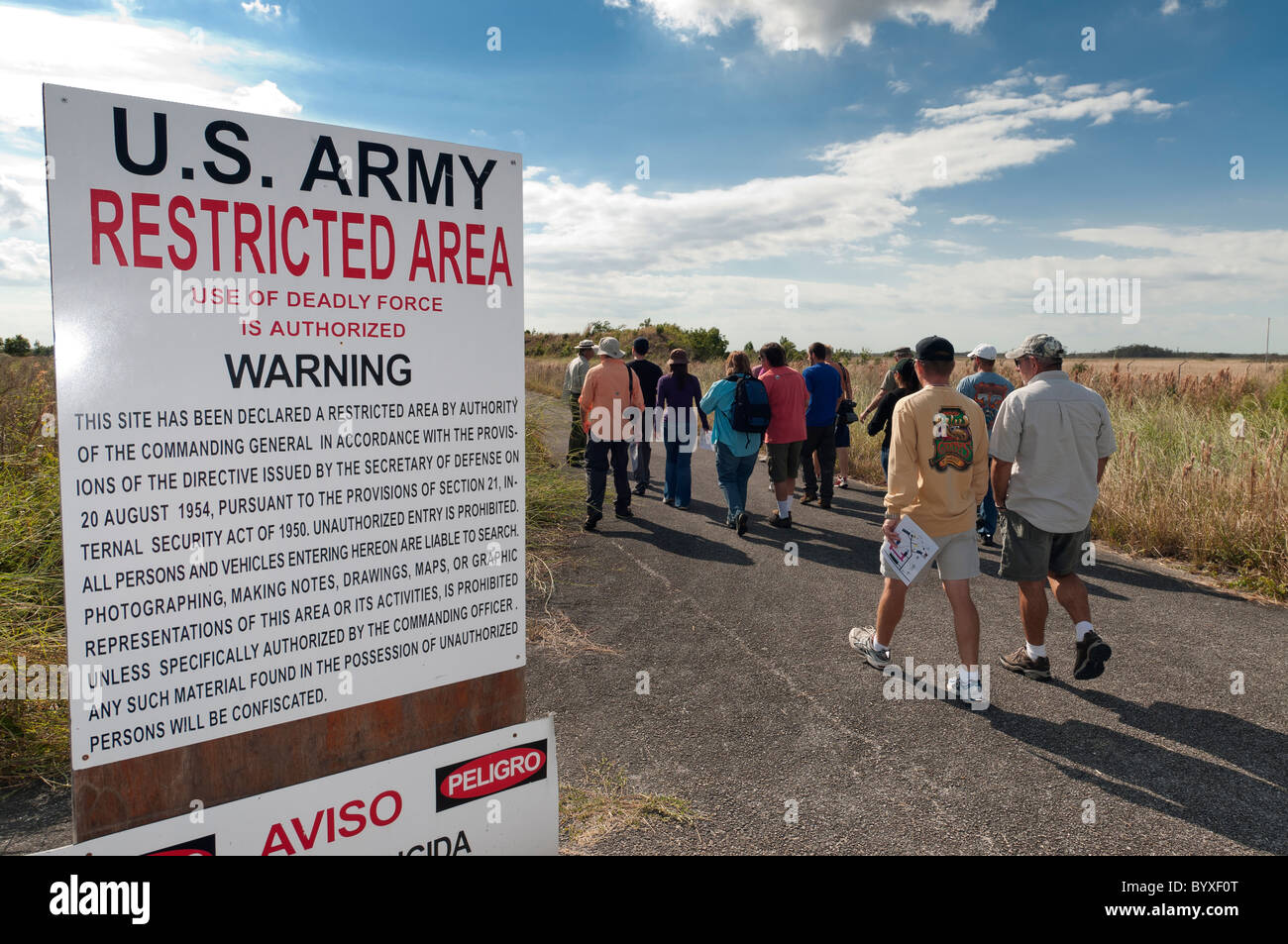 Park ranger leads tour of Nike Hercules Missile site, Everglades National Park, Florida. - Stock Image