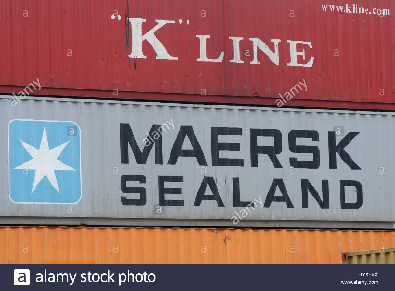 Basel Switzerland - Basler container terminal. 'K' line and Maersk Sealand containers. - Stock Image