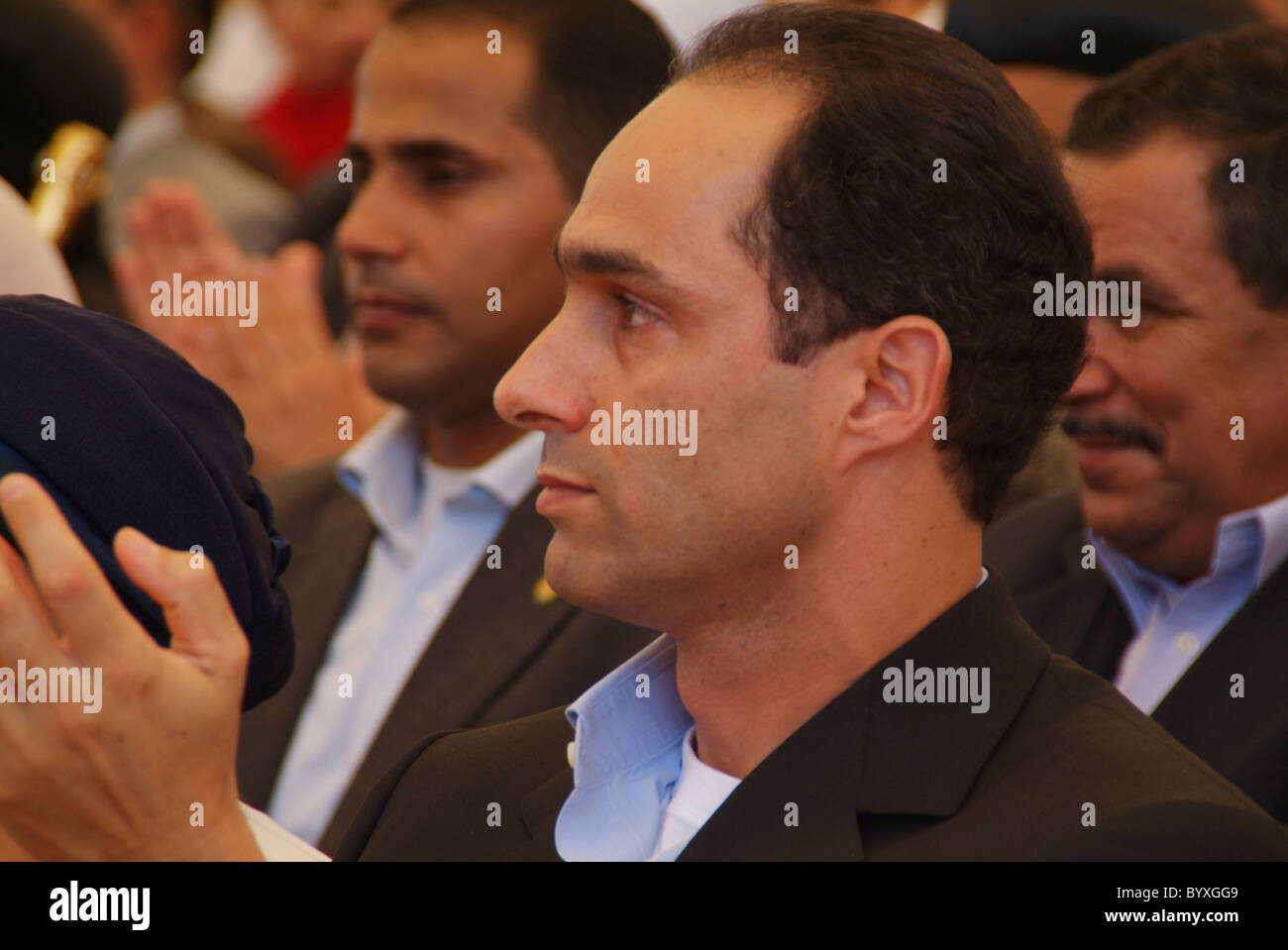 minya 2005 gamal mubarak attends a re election rally for