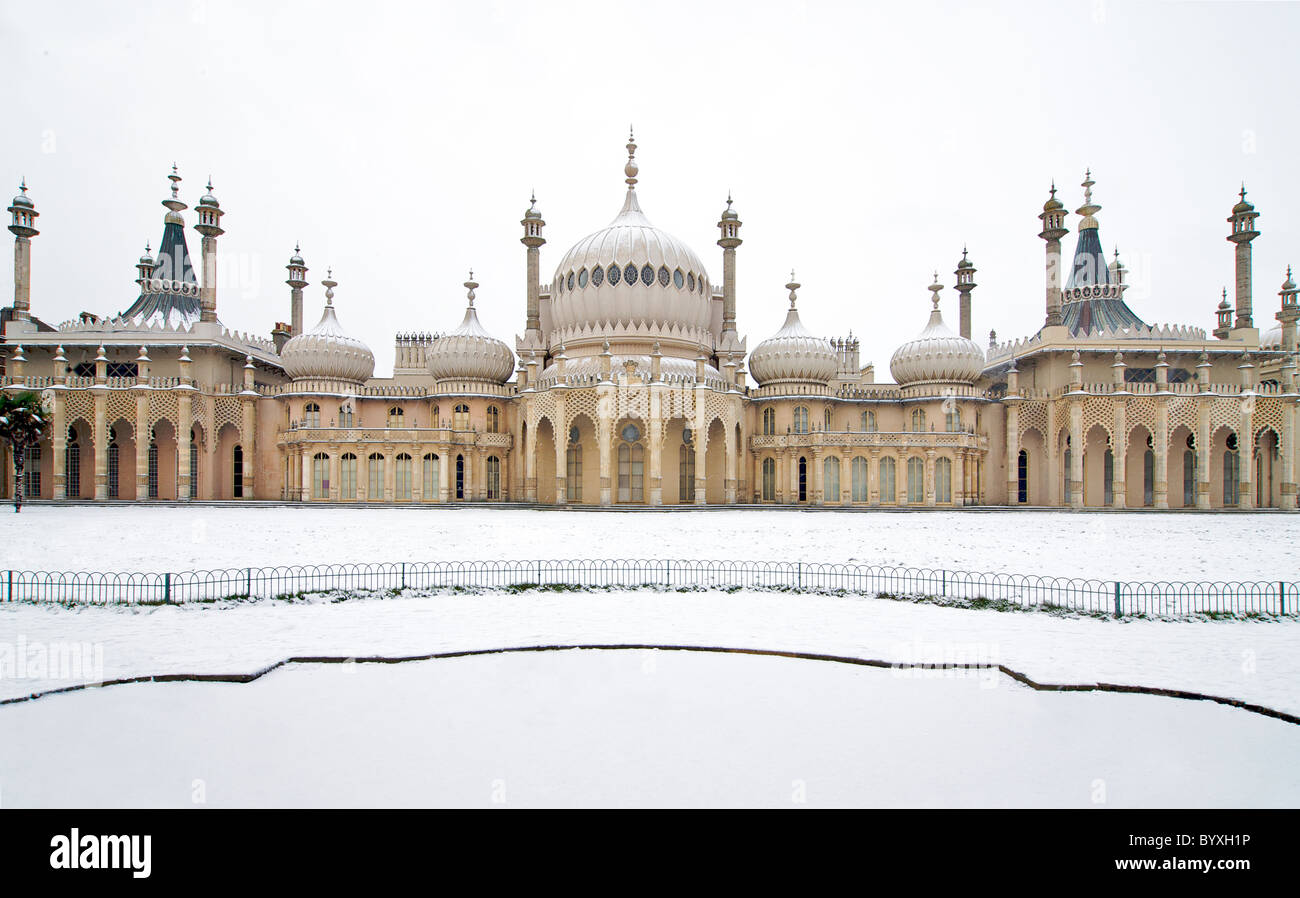Royal Pavilion Brighton and grounds in snow. Winter. Brighton East Sussex England Stock Photo