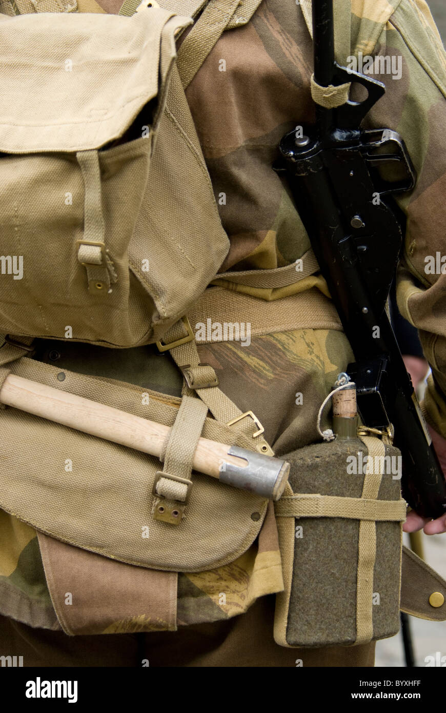 British soldier uniform at the Haworth 1940s weekend. - Stock Image
