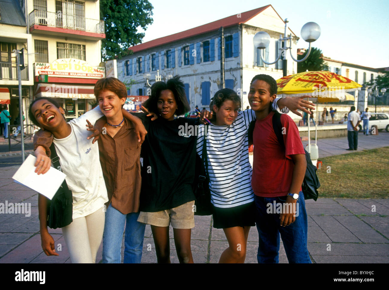 French students, students, teen girls, teen boys, teenagers, Pointe-a-Pitre, Grande-Terre, Guadeloupe, France, French - Stock Image