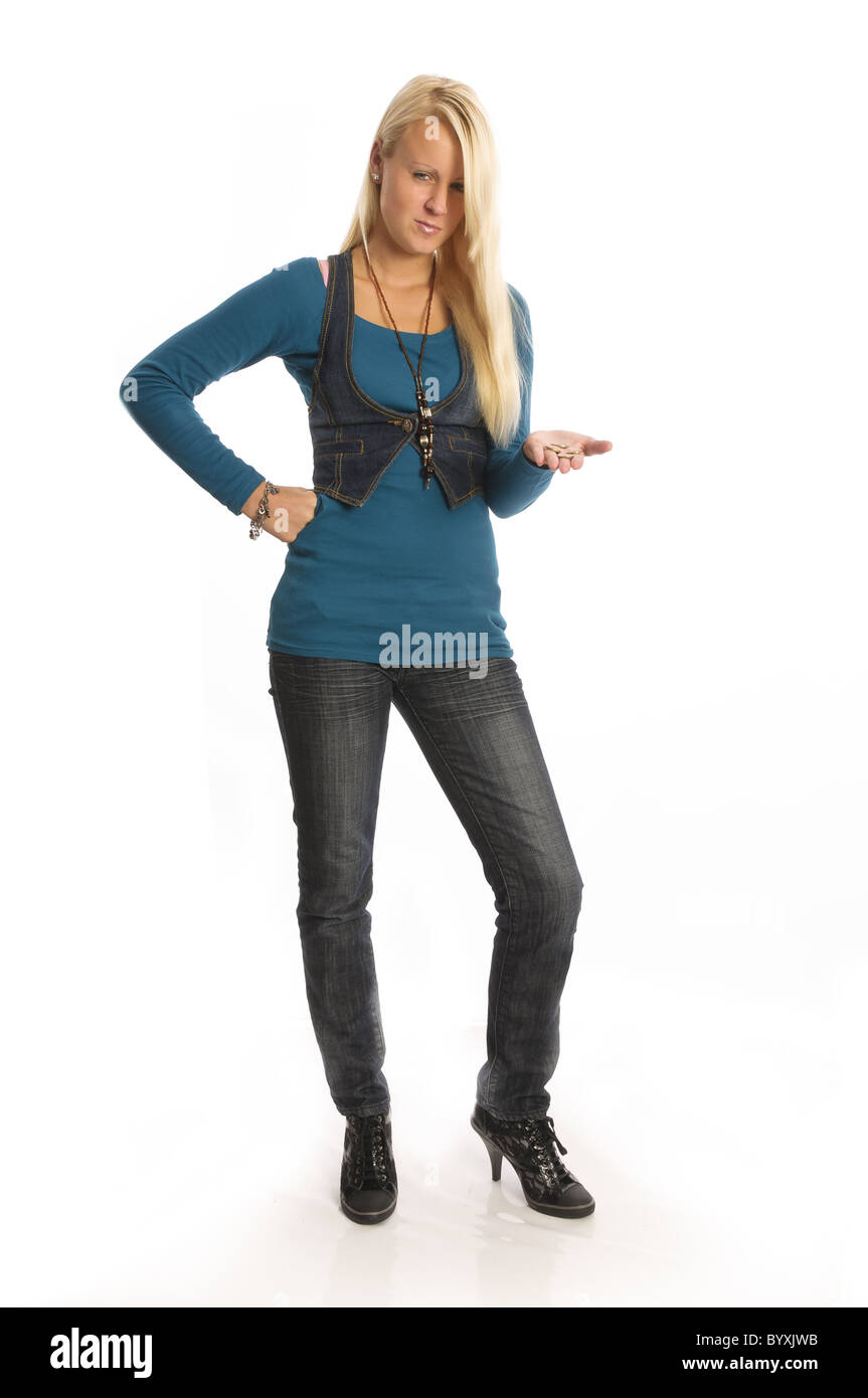 Girl with too little pocket money Stock Photo