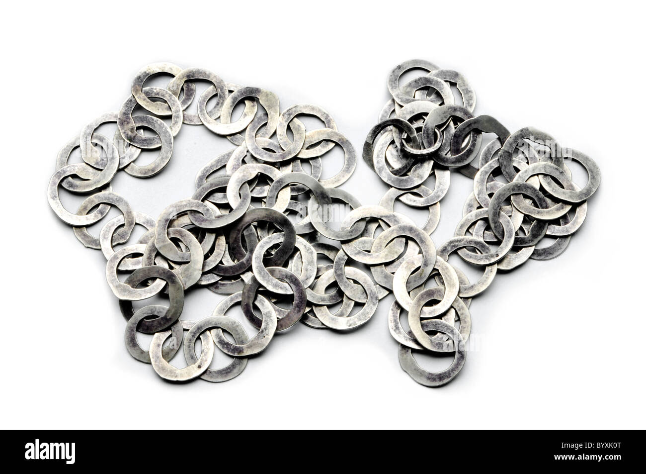 pure silver belt chain on white - Stock Image