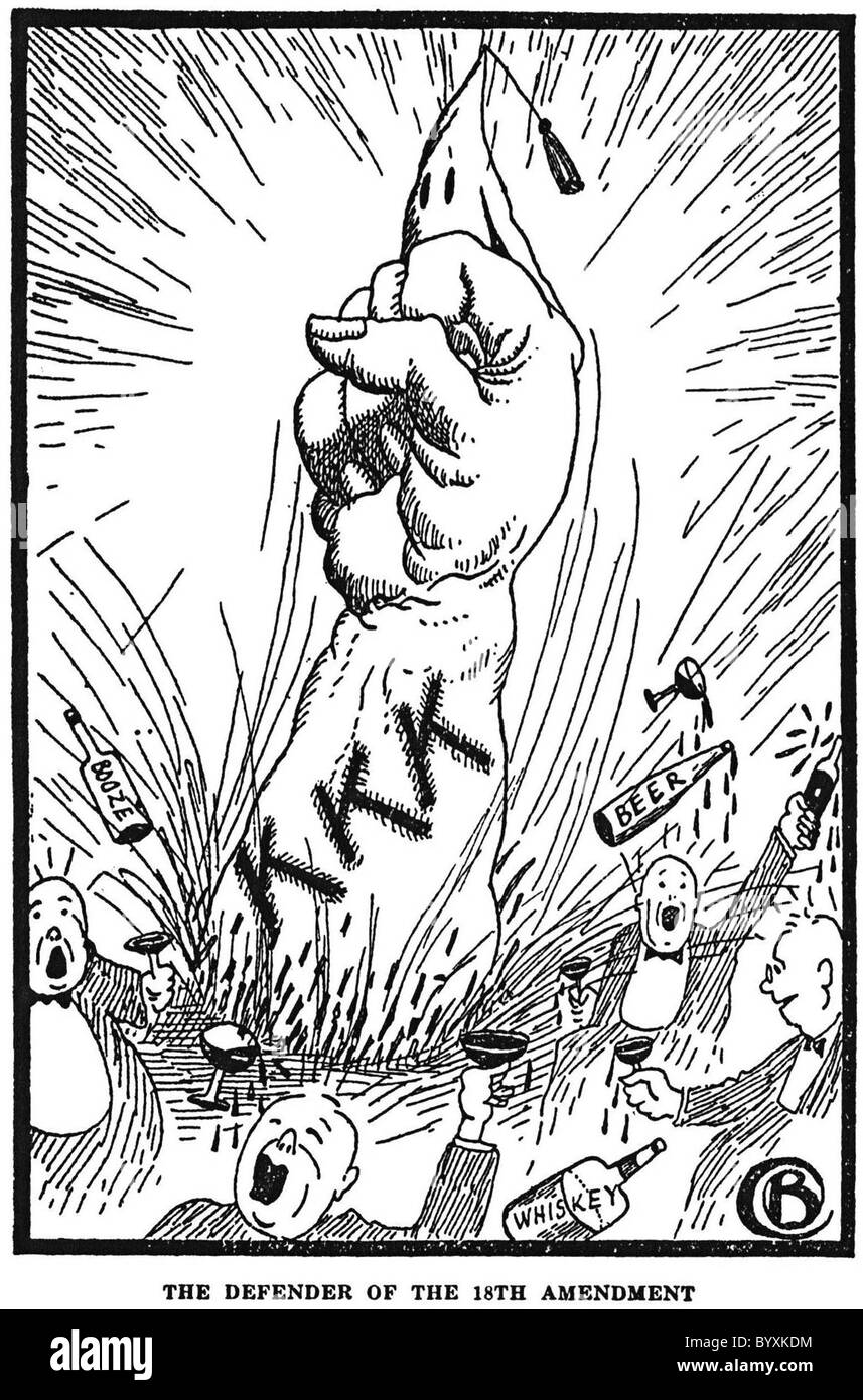 KU KLUX KLAN as defenders of the 18th Amendment (which established Prohibition in the USA ) from a 1926 book - Stock Image