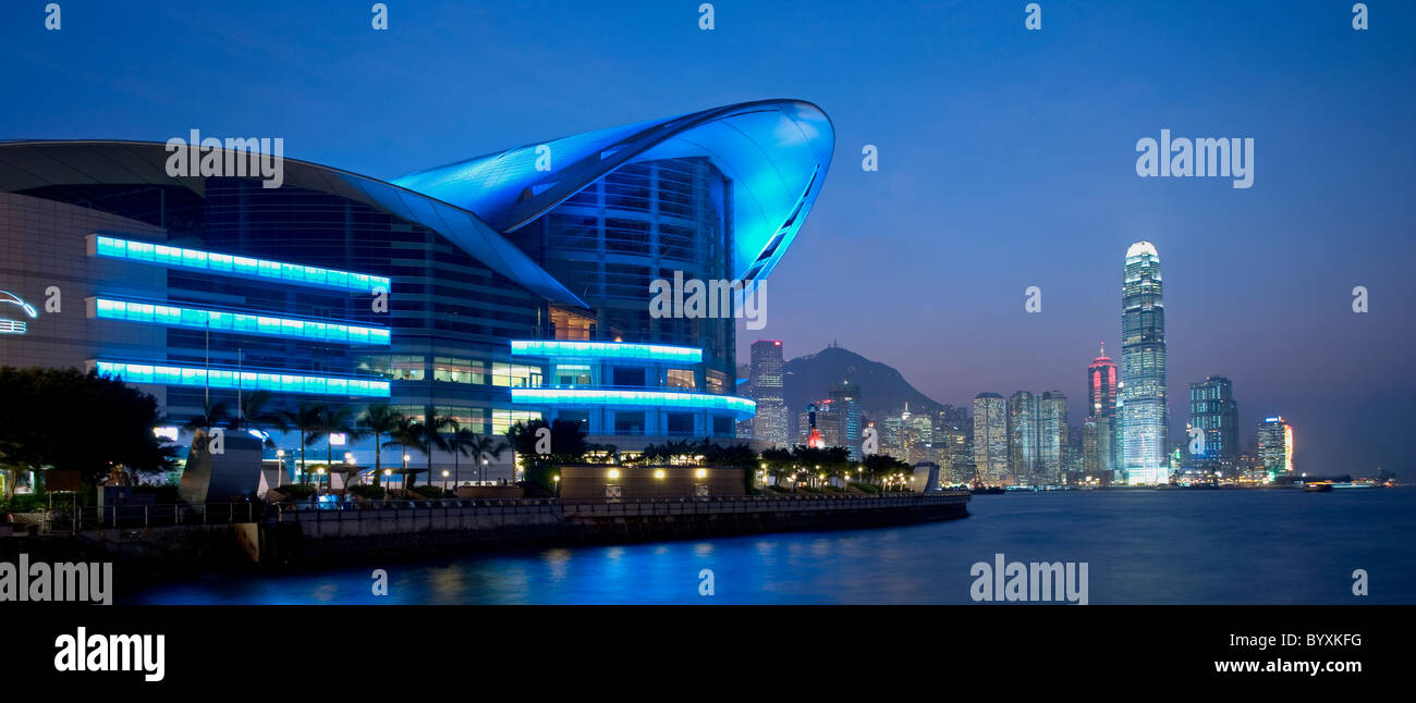 Hong Kong Convention and Exhibition Centre and the IFC building, Honk Kong, China - Stock Image