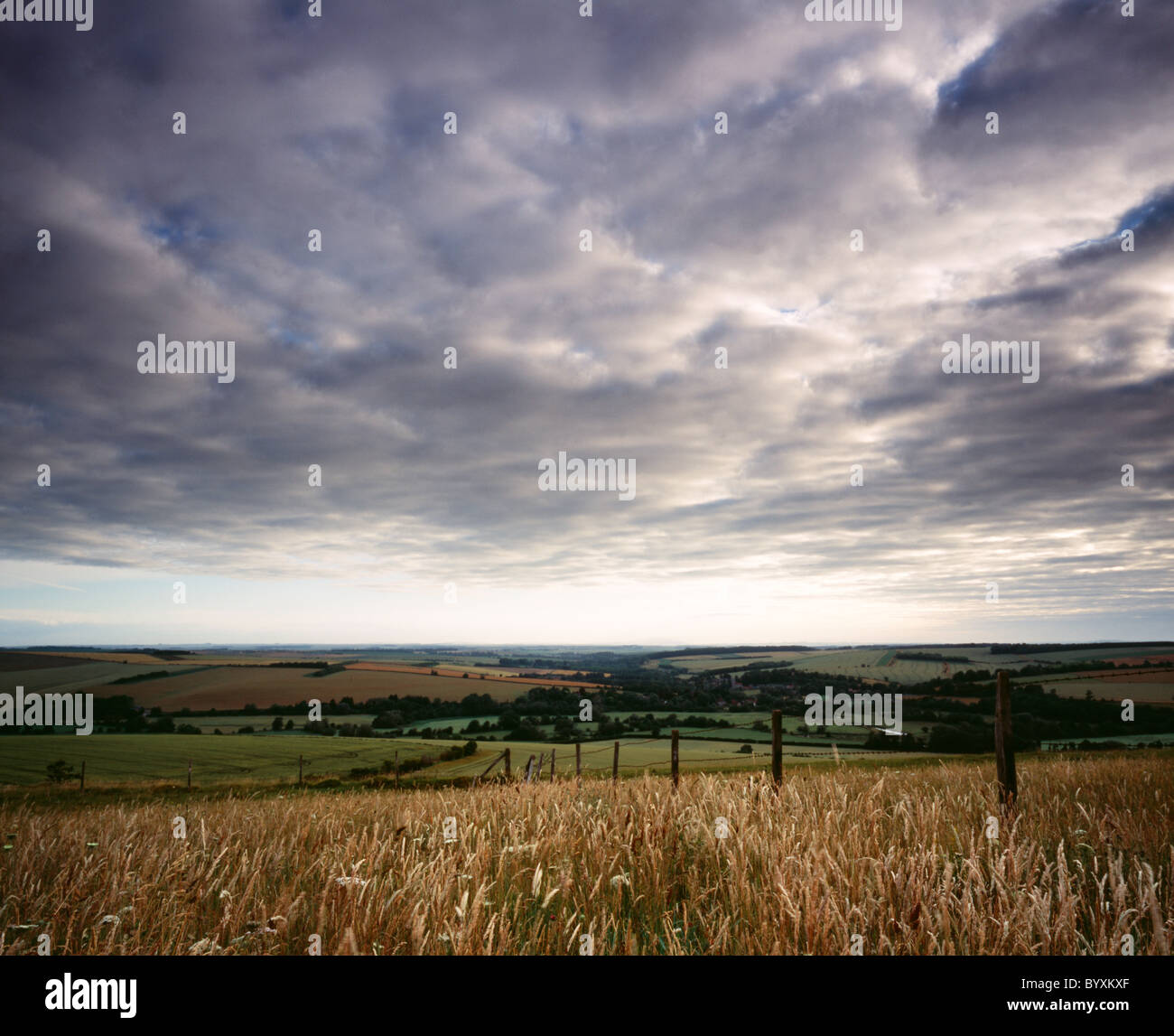 A view of the Wylye Valley in Wiltshire, England taken near the village of Stapleford. Stock Photo