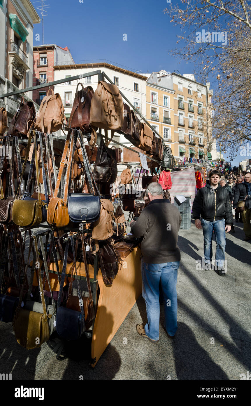 leather goods stall in the Rastro Market Madrid - Stock Image