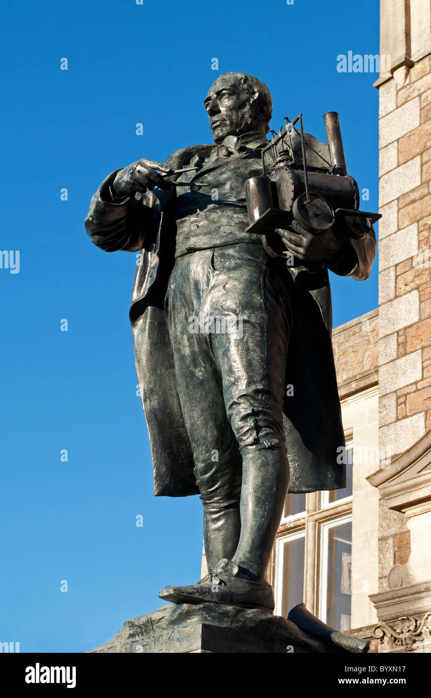 A statue of Richard Trevithick in Camborne, Cornwall, UK - Stock Image