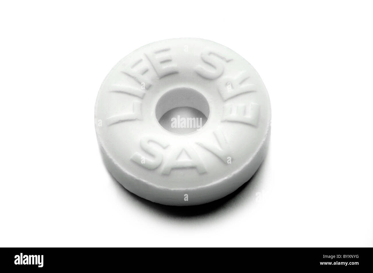 life saver candy on white - Stock Image