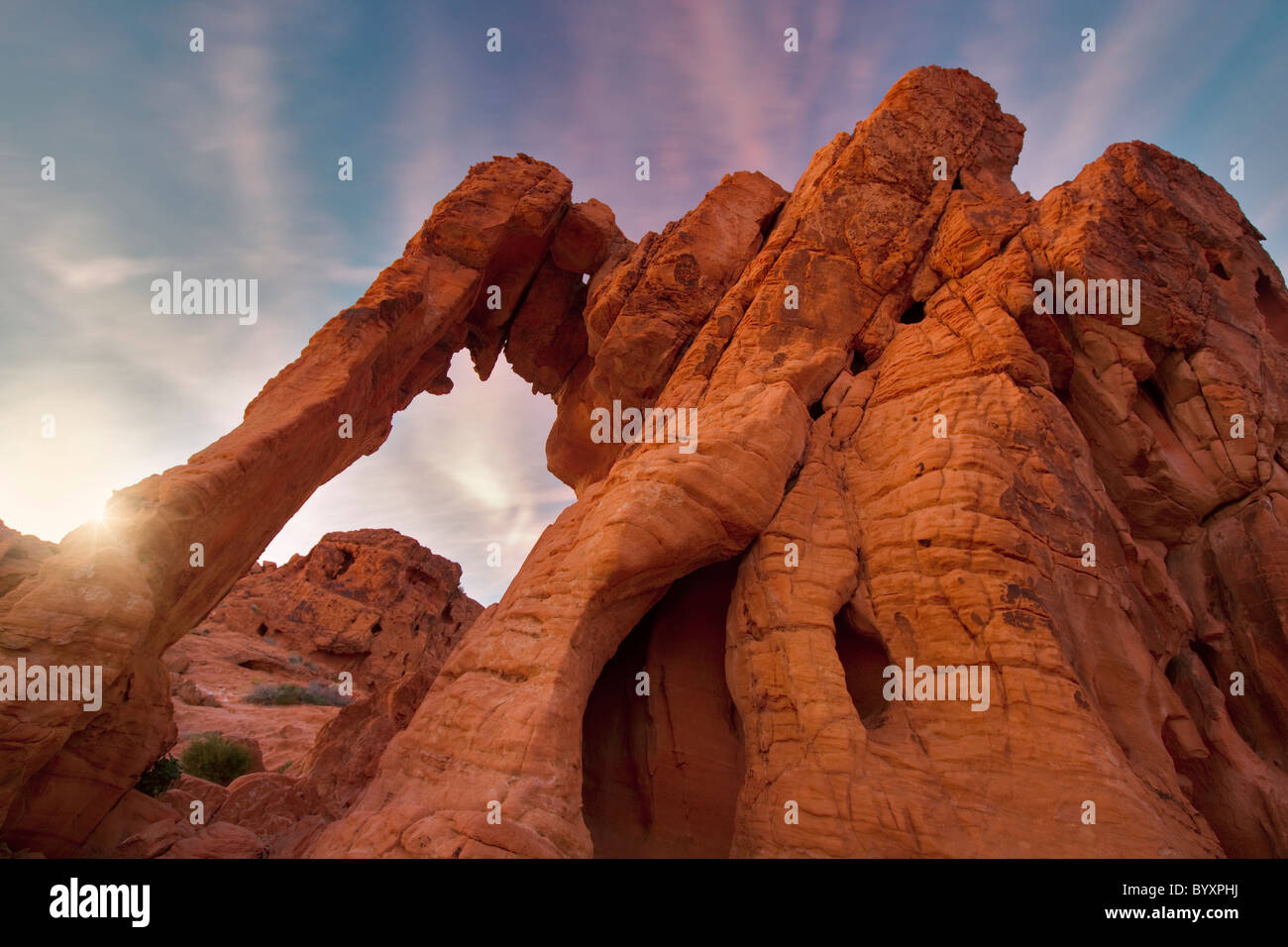 Elephant Rock and sunset clouds. Valley of Fire State Park, Nevada - Stock Image