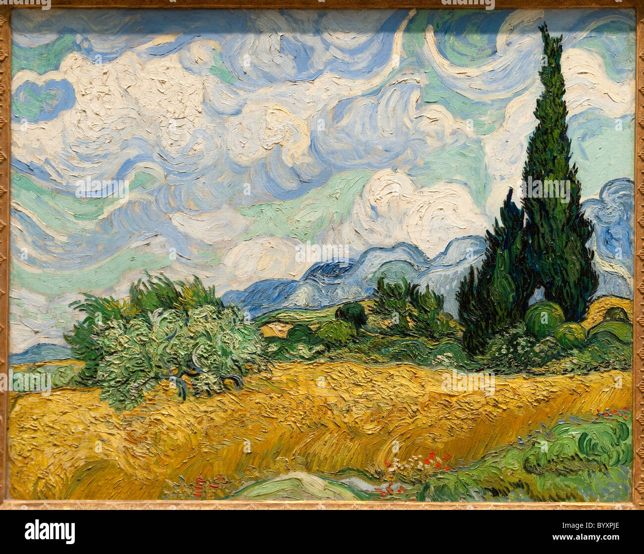 Wheat Field with Cypresses, 1889, by Vincent van Gogh - Stock Image