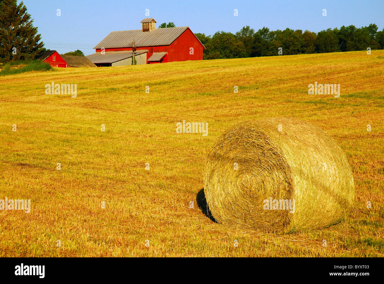 Hay bale on rural property in Catskill region of New York State. - Stock Image