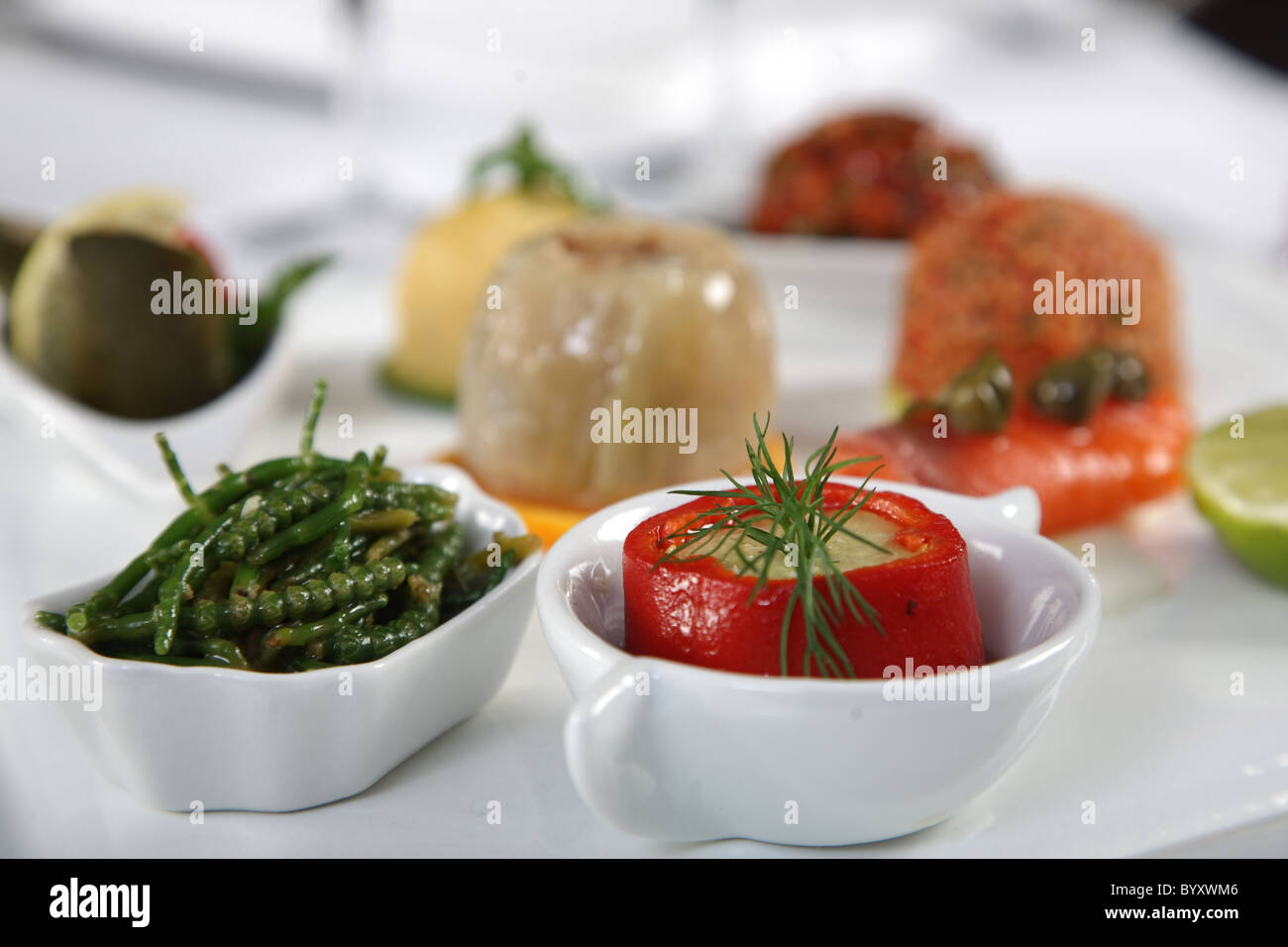 Close up of appetizer with classy dish - Stock Image