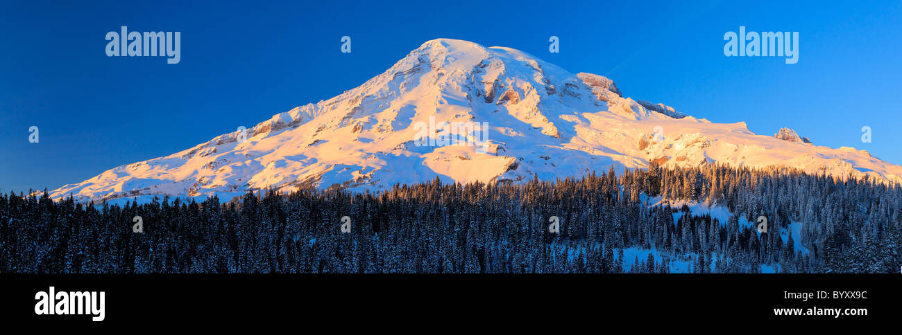 Panoramic view of the south face of Mount Rainier at  sunset in the midst of winter - Stock Image