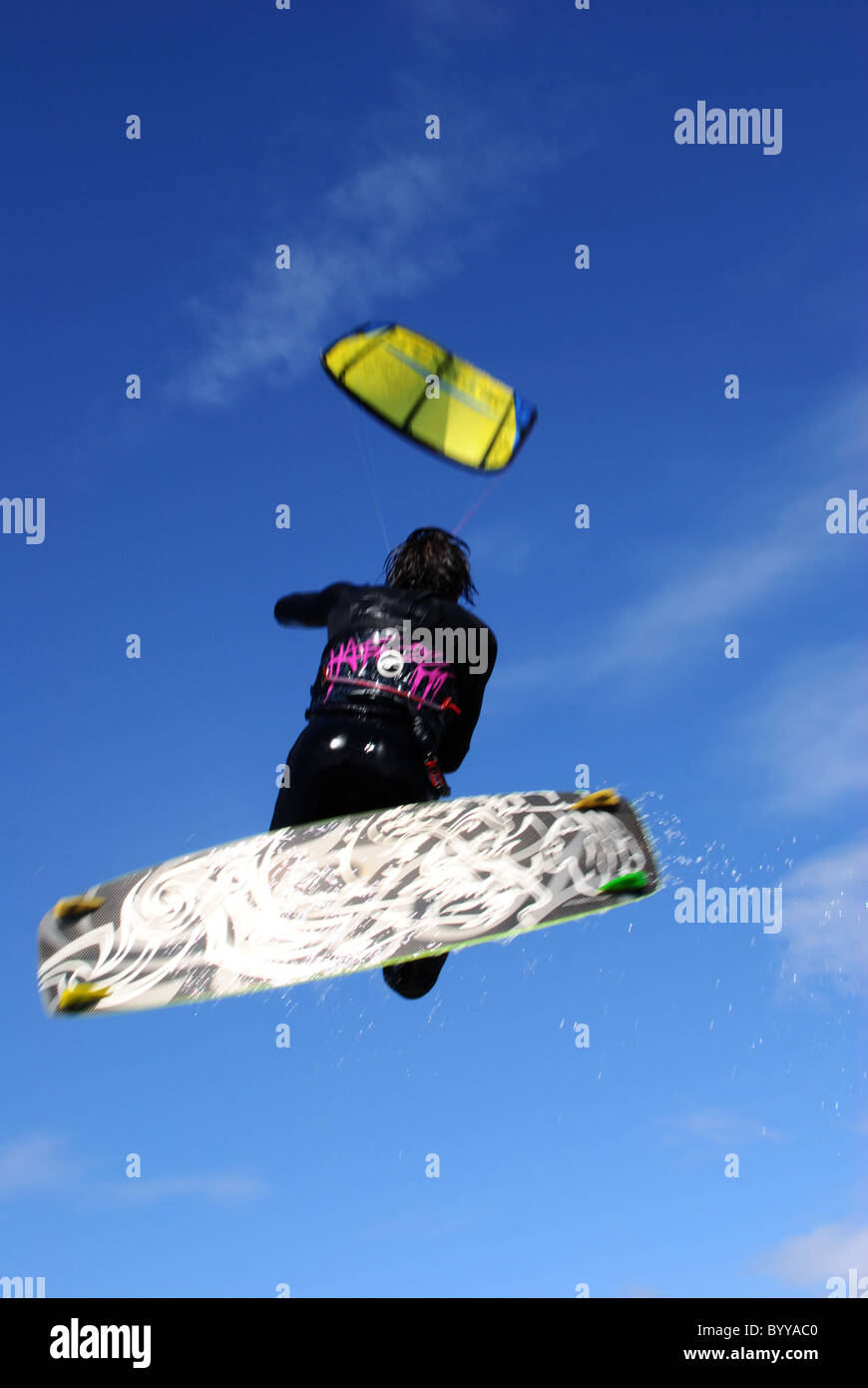 Extreme sport Kitesurfing in Clacton-on-Sea - Stock Image
