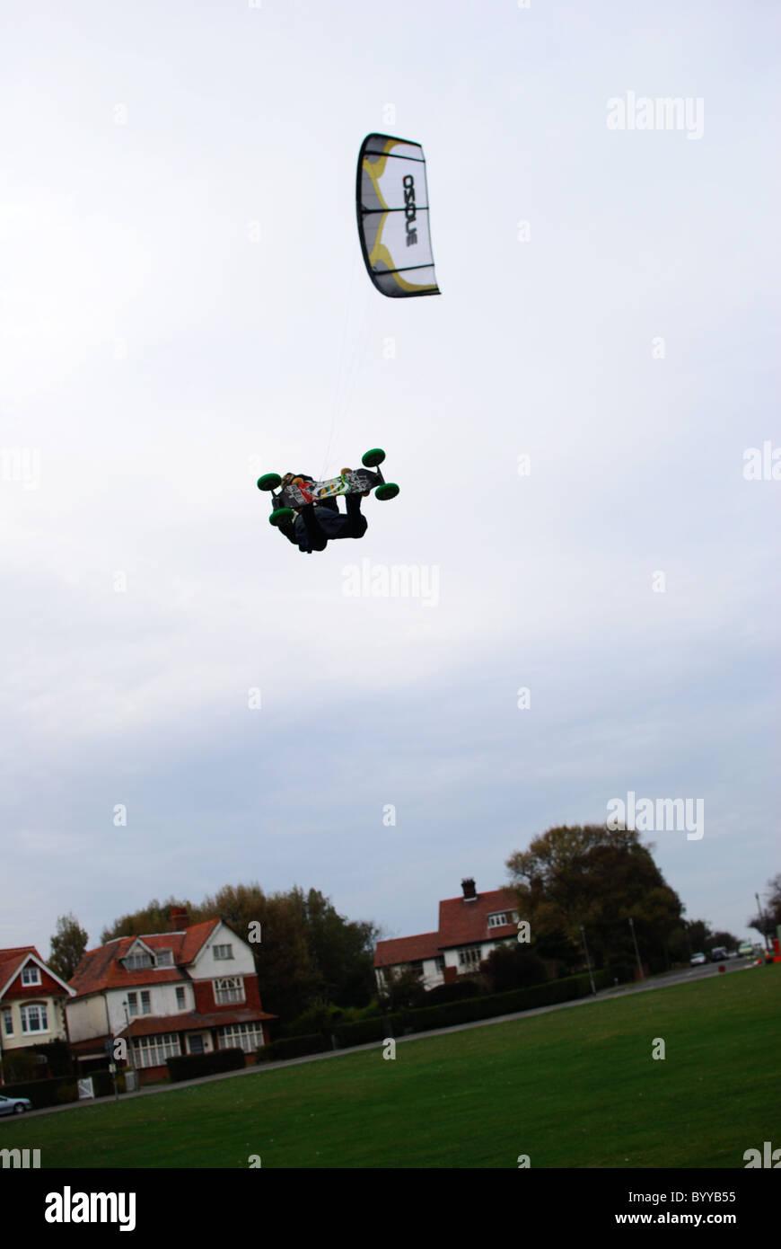 Extreme sport kiteboarding in Frinton-on-Sea - Stock Image