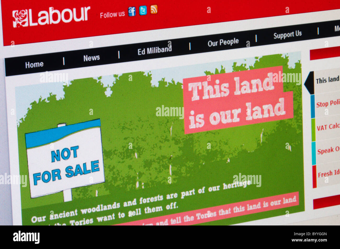 Labour Party web site quotes Woody Guthrie song 'This Land is our Land' protesting at the proposed sale - Stock Image
