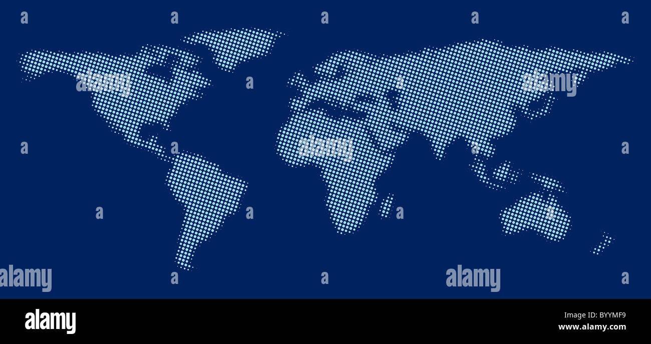 World map made of blue dots against dark blue background stock photo world map made of blue dots against dark blue background gumiabroncs Choice Image