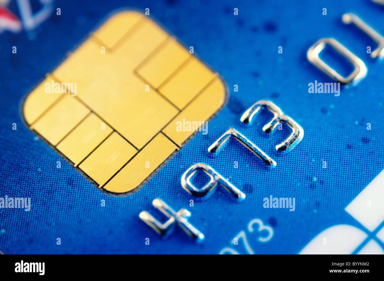Smart card super macro , credit card chip - Stock Image