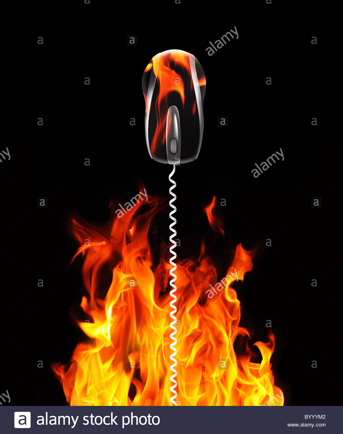 mouse cable and flames - Stock Image