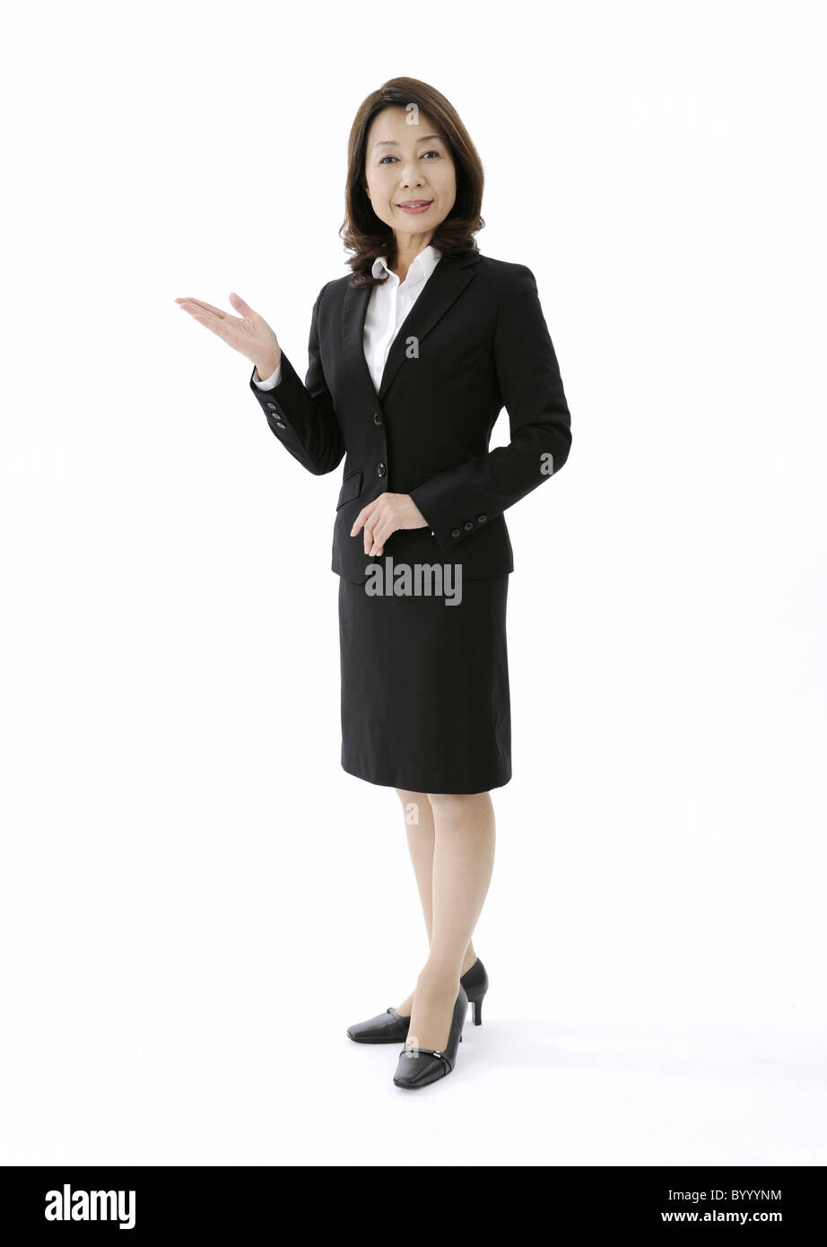 Concierge showing something - Stock Image